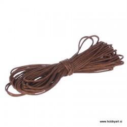 Povoščena tekstilna vrvica 0,5mm x 5m, Svetlo rjava
