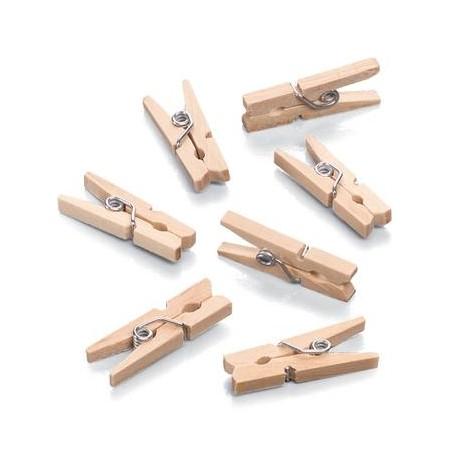 Mini ščipalke iz lesa 25 x 7mm, 100 kosov
