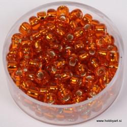 Perle srebrna sredica 4,5mm oranžne 17g.