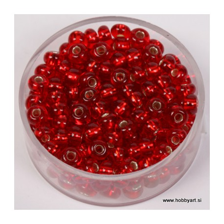 Perle srebrna sredica 4,5mm rdeče 17g.
