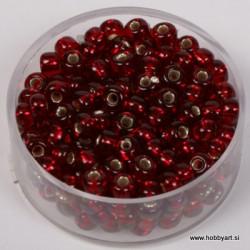 Perle srebrna sredica 4,5mm t. rdeče 17g.