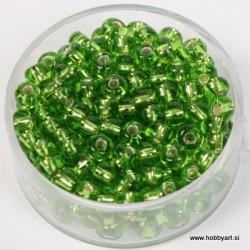 Perle srebrna sredica 4,5mm sv. zelene 17g.