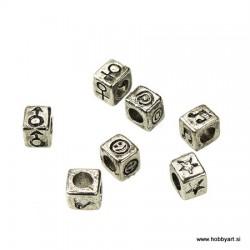 Kovinske perle 6x7mm, 7 dizajnov Platinaste b