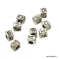 Kovinske perle 6x7mm Črke a-e-i-o-u-b-c-d-f-g 10 kosov