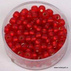 Perle srebrna sredica mat 4,5mm rdeče 17g.