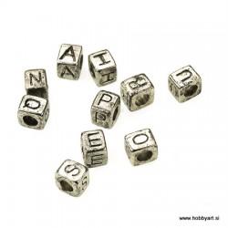 Kovinske perle 6x7mm Črke a-e-i-o-u-n-p-g-r-s 10 kosov