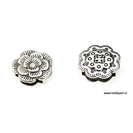 Kovinske perle za ploščat trak 18mm, 2 kosa