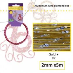 Aluminijasta žica Daimond rez 2mm, 5m, Zlata