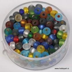 Perle srebrna sredica mat 4,5mm mešane 17g.