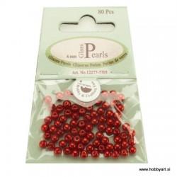 Voščene steklene perle 4mm, Rdeče 80 kosov