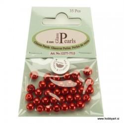 Voščene steklene perle 6mm, Rdeče 35 kosov