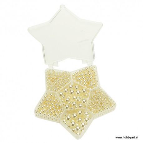 Komplet voščenih perl Zvezda Bež 4, 6, 10mm