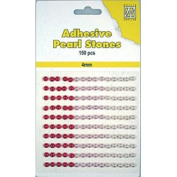 Samolepilne polovične perle 4mm, Rdeče 3 barve, 150 kosov