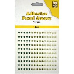 Samolepilne polovične perle 4mm, Zelene 3 barve, 150 kosov