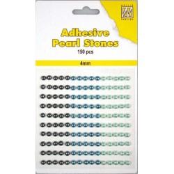 Samolepilne polovične perle 4mm, Modra 3 barve, 150 kosov