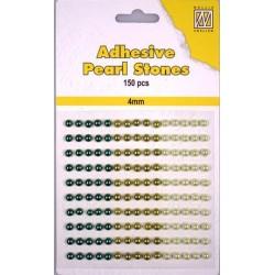 Samolepilne polovične perle 4mm, Rjave 3 barve, 150 kosov