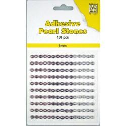 Samolepilne polovične perle 4mm, Vijolične 3 barve, 150 kosov