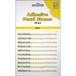 Samolepilne polovične perle 4mm, Bele 3 barve, 150 kosov