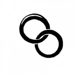 Štampiljka iz gume leseni ročaj Poročna prstana 23x15mm