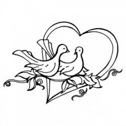 Štampiljka iz gume lesen ročaj, Srček z golobčkoma. 35x25mm