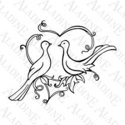 Štampiljka iz gume lesen ročaj, Srček z golobčkoma 60x40mm