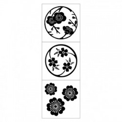 Štampiljka iz gume na lesenem ročaju Češnjevi cvetovi 3/1, 33mm