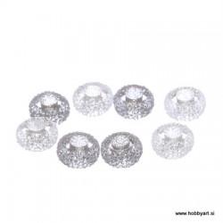 Epoksi akrilne perle 12mm Ø luknje 4,5mm, Prozorna/Siva, 8 kos