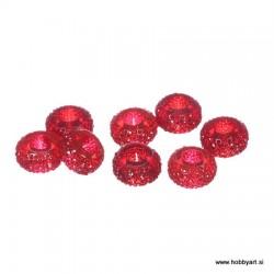 Epoksi akrilne perle 12mm Ø luknje 4,5mm, Rdeča, 8 kos