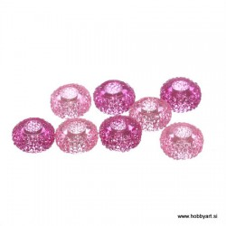 Epoksi akrilne perle 12mm Ø luknje 4,5mm, Fuksija/Roza, 6 kos