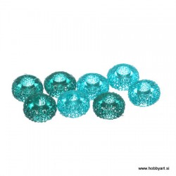 Epoksi akrilne perle 12mm Ø luknje 4,5mm, Aquamarin, 8 kos