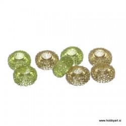 Epoksi akrilne perle 12mm Ø luknje 4,5mm, Olivna/Kaki, 8 kos