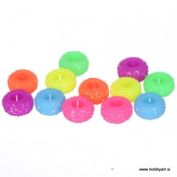 Epoksi akrilne perle 12mm Ø luknje 4,5mm, Neon, 12 kos