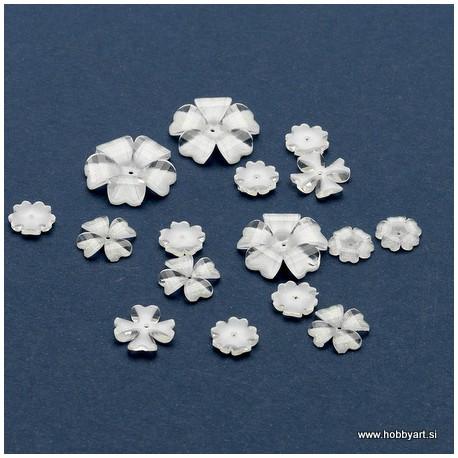 Rože iz epoksi smole Prozorno Bele 9-18mm, 16 kosov