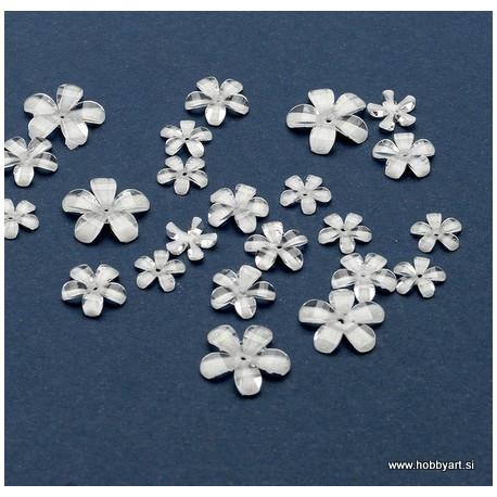 Rože iz epoksi smole Prozorno Bele 9-17, 23 kosov