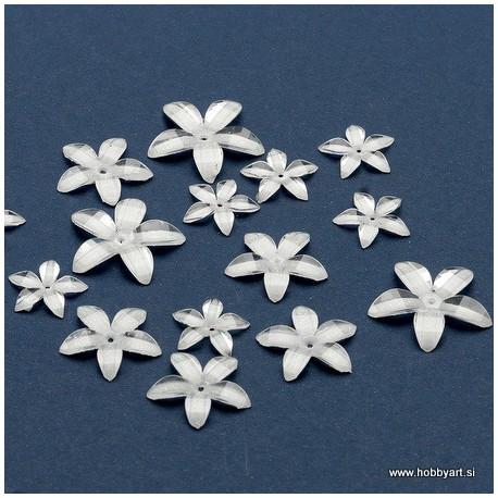 Rože iz epoksi smole Prozorno Bele 14-24mm, 16 kosov
