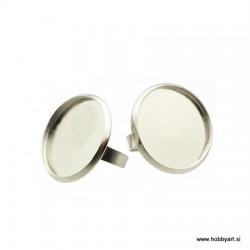 Prstan ploščica z robom 25mm, Platinaste b. 2 kosa