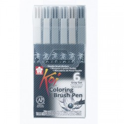Sakura Koi brush marker set 6 Sivi toni