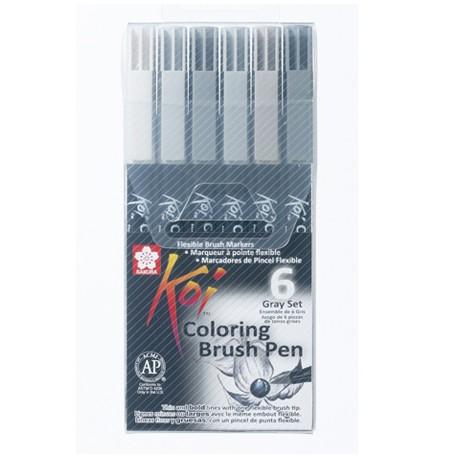 Sakura Koi brush marker set 6 Sivi toni
