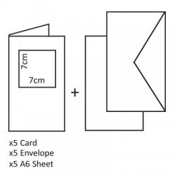 Voščilnice Kvadratni izrez+kuverte+kartonček, Bela 5 kosov