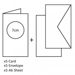 Voščilnice Okrogli izrez+kuverte+kartonček, Bela 5 kosov