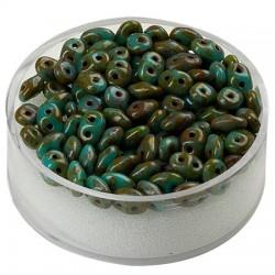 Super Duo perle 2,5 x 5mm, Zeleno marmorna 8g.