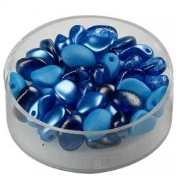 Perle solze 6 x 8mm, cca 40 kosov, Modra