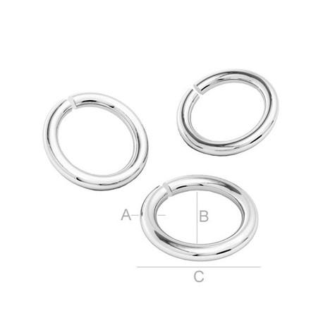 Zaključni obroček Srebro 925, A 1.3, B 3, C 5.5mm