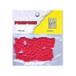 Pompom 3mm, Škrlatno Rdeča, 100 kosov