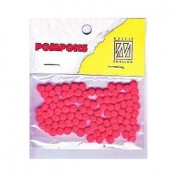 Pompom 3mm, Rdeča, 100 kosov