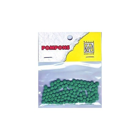Pompom 3mm, Smaragdno zelena, 100 kosov