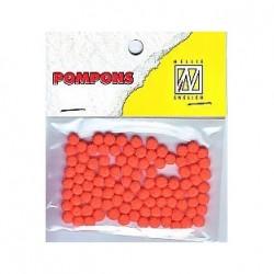 Pompom 3mm, Oranžna, 100 kosov