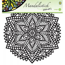 Konturne nalepka Mandala 20 x 23cm, Zvezda Roža črna