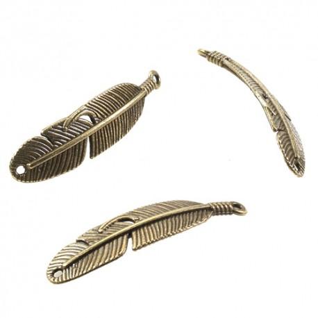 Kovinsko perje 2 luknje 11x46mm, Antično zlata 3 kosi