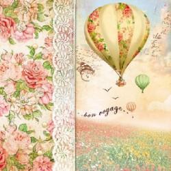 Papirni prtički Servieti Balon z rožami 4 kosi 33x33cm